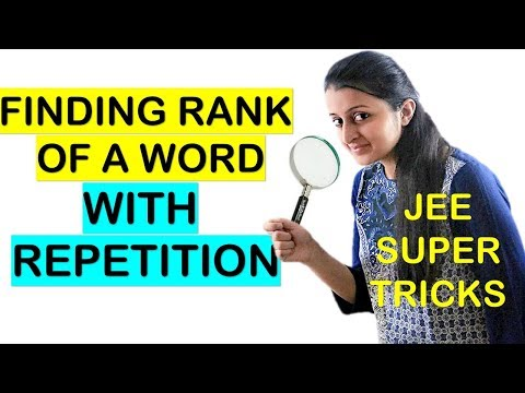 HOW TO FIND RANK OF A WORD IN THE DICTIONARY WITH REPETITION SHORTCUT// JEE
