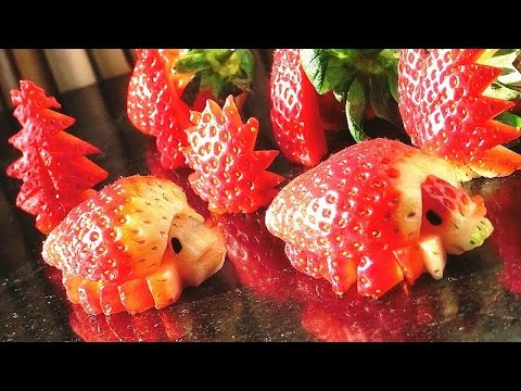 How To Make Strawberry Turtles | Strawberry Art Red Turtle | Fruit Carving Strawberries Garnishes