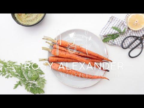 Honey Roasted Carrots & Carrot Top Hummus