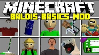 Minecraft BALDI'S BASICS IN EDUCATION MOD | NEW BALDI, BULLY, ARTS AND CRAFTERS! | Modded Mini-Game
