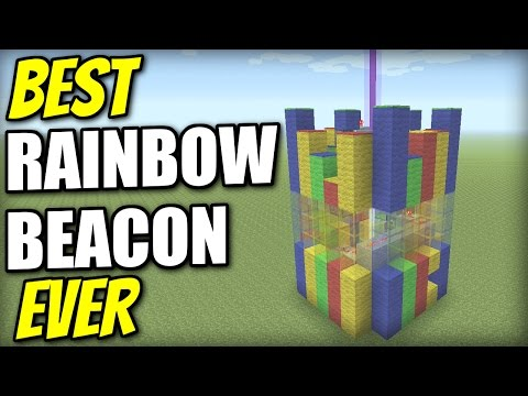 Minecraft PS4 - BEST RAINBOW BEACON EVER - Tutorial - PE / Xbox / PS3 / Wii U