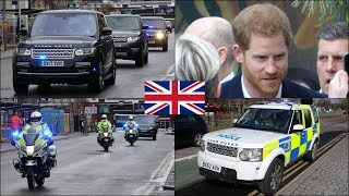 Prince Harry & Meghan - Police escort Royal cars and unmarked units