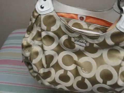 Coach Op Art Sateen Maggie Shoulder Bag