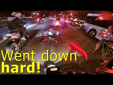 BIKER CRASHES INFRONT OF ME!