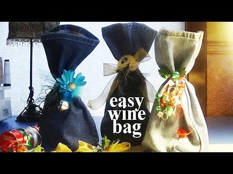 EASY Wine Bag | Upcycled Denim Bottle Sleeve | Zazu's Stitch Art Gift Tutorials
