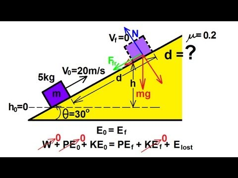Physics - Mechanics: Conservation of Energy (3 of 11) Moving Up An Incline (Friction)