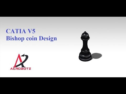 Bishop chess coin desing in catia