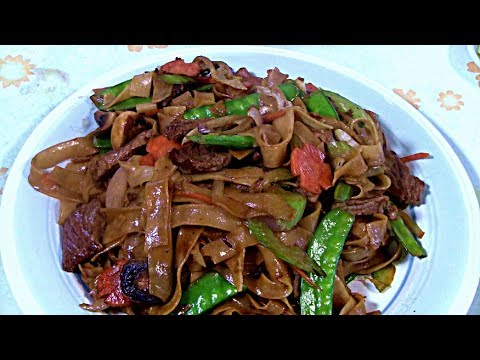 Beef With Rice Noodle Stir Fry 干炒牛河  (Chinese Cooking In A Wok)  Beef Chow Foon
