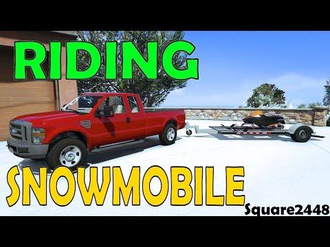 Riding Snowmobile | 2008 Ford F350 | Utility Trailer | GTA 5