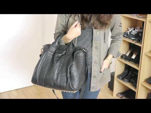 Alexa GOLD studded BAGINC - Alexa Studded Calfskin Leather Bag Black ... 9f4d1ad0b3a94