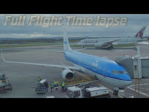 Manchester to Amsterdam full flight timelapse KLM with ATC