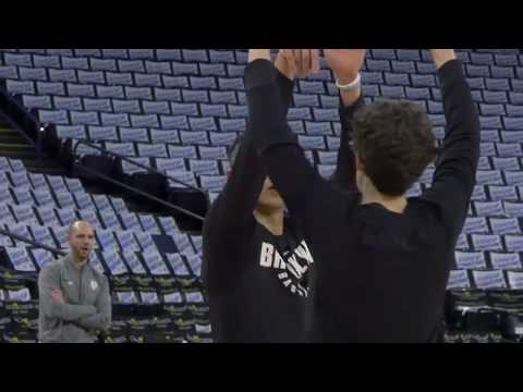 Jeremy Lin shootaround with Nets at Oracle Arena