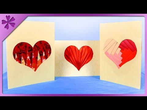 DIY How to make iris folding card, heart, 3 patterns (ENG Subtitles) - Speed up #448