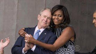 Bonding moment between former president Bush and Michelle Obama