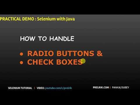 Selenium : How to handle Radio Buttons & check Boxes