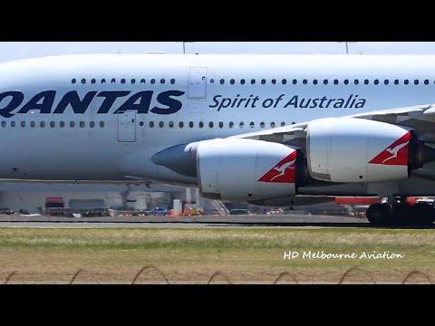 POWERFUL TAKEOFF! - Qantas A380-842 - Departure Melbourne Airport Australia [VH-OQK]