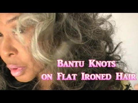 VINE Day 19: Bantu Knots on Flat-Ironed Hair