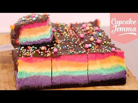 How to Make a RAINBOW Baked Cheescake | Cupcake Jemma