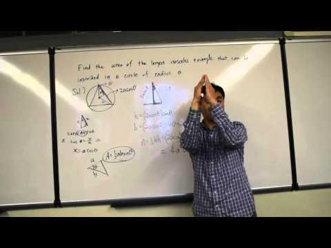 Isosceles triangle with the largest area inscribed in a circle I