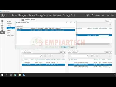 How to Create a Parity Storage Space in windows server 2016 in HINDI