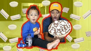 HOW TO MAKE A GIANT CHOCOLATE CANDY PIZZA W/ BABY CHRIS!!!