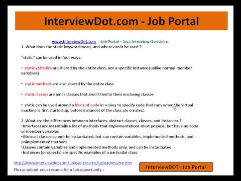 Java Interview Question and Answer Explain Static,Interface,Abstract class