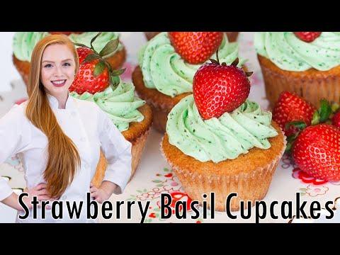 Strawberry Basil Cupcakes