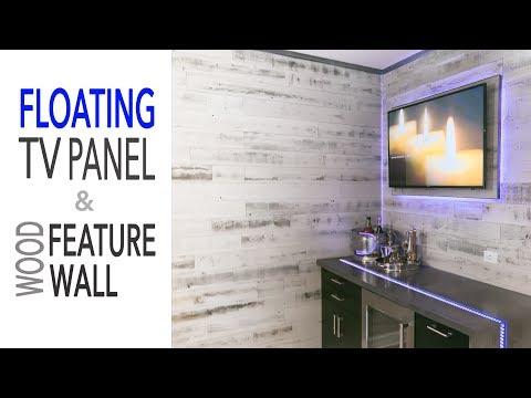 DIY Mancave Renovation || Floating TV Wall - Ikea Cabinets - Reclaimed Wood Wall
