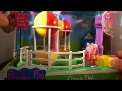 Unboxing Peppa Pig Deluxe Balloon Ride Playset review open box