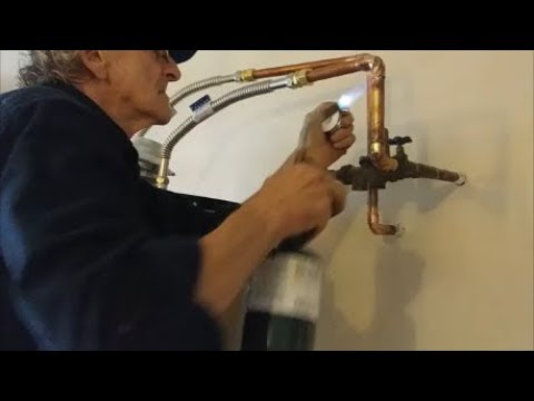 How To Solder Copper Pipe and Install Water Pipes To A water Heater - Plumber In Action