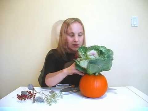 DIY Cabbage Floret Pumpkin Centerpiece For Fall