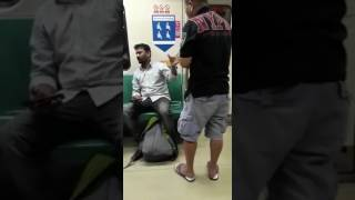Chinese guy angry at Indian man for talking in the phone loudly