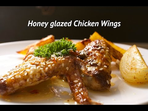 Honey glazed Chicken Wings. How to cook crispy Chicken Wings with honey glaze.