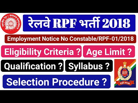 RPF Recruitment 2018. Eligibility criteria,Age limit, Physical Fitness, Qualification,Selection Type