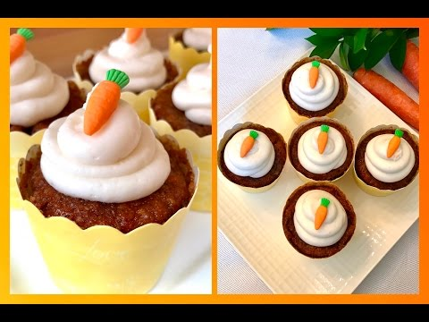 Mini Carrot Cake Cupcakes with Dairy Free Cream Cheese Frosting