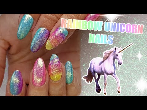 RAINBOW UNICORN ACRYLIC NAILS | GEL POLISH | MAGICAL