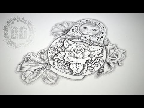 Russian Doll Tattoo Design - Speed Drawing
