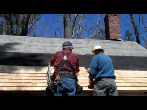 Tuesday Crew Installing Cedar Shingles on Gift Shop Roof