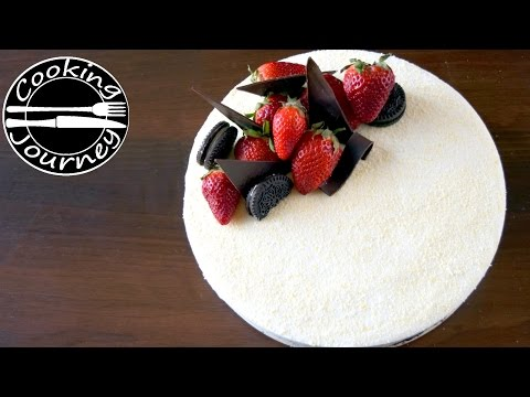No Bake White Chocolate Mousse Cake (CAKE TUTORIALS - WITHOUT OVEN - DECORATING IDEAS)