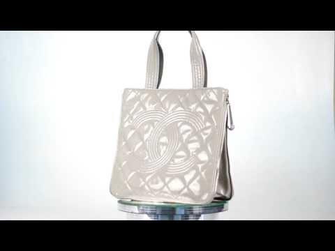 CHANEL Vinyl EXPANDABLE ZIPPER TOTE Handbag Purse CC Bag GRAY Authentic NEW