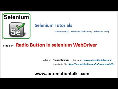 Selenium Video 24 - How to Select Radio Button in selenium WebDriver