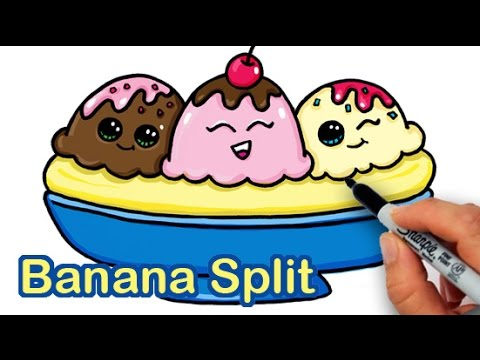 How to Draw a Yummy, Cute Banana Split Ice Cream Sundae