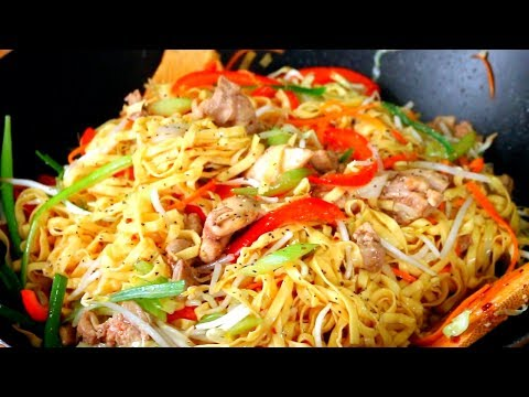 Chicken Chow Mein   Chicken Stir Fry Noodles Recipe   Cách Làm Mì Xào Ga