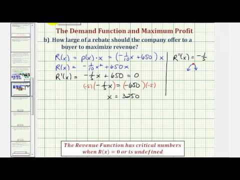Ex: Find a Demand Function and a Rebate Amount to Maximize Revenue and Profit