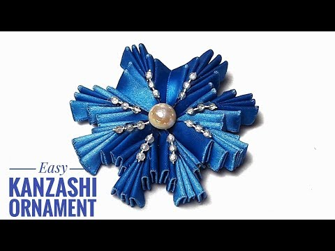 How To Make Easy Kanzashi Snowflake - DIY Christmas Ornaments Out Of Ribbons