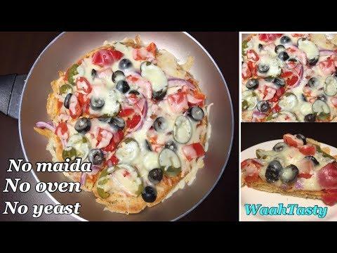 No Oven, No Yeast, No Maida pizza | wheat oats pizza | pizza on tawa | WaahTasty