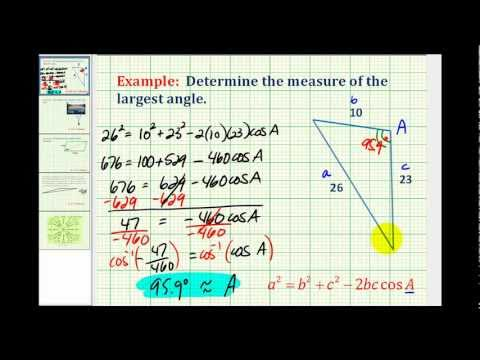 Example:  Determine the Measure of an Angle of a Triangle Given the Length of Three Sides