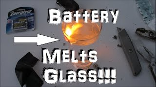 Battery Hack!  (Lithium VS Water) Melts Glass!