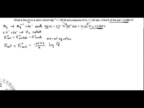 Calculating pH of a cell using cell potentials and the Nernst equation
