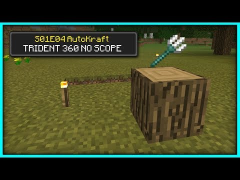 Minecraft - TRIDENT NO SCOPE... [ AutoKraft Lets Play #4 ] Console / MCPE / Bedrock